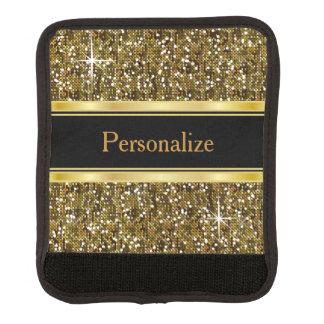 Gold Glitter Confetti Print Luggage Handle Wrap