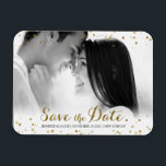 "Gold Glitter Confetti Save the Date Photo Magnet<br><div class=""desc"">Click &quot;Customize It!&quot; to move/adjust photo, text and colors! A beautiful Save the Date photo magnet design featuring gold, glitter and bling! A fun way to introduce an engagement and upcoming wedding date before sending out formal invitations! Featuring faux (flat printed) gold glitter confetti. Matching Invitations, Bridal Party Cards, Postage,...</div>"
