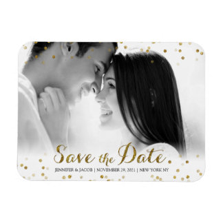 Gold Glitter Confetti Save the Date Photo Magnet