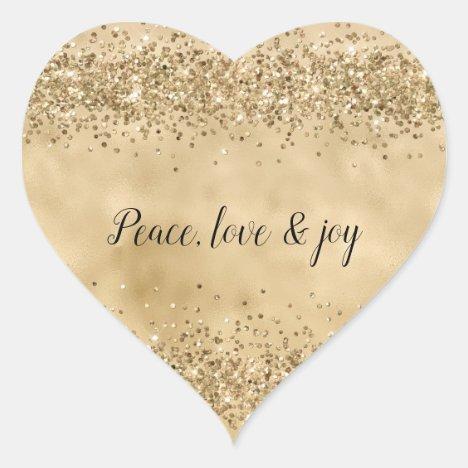 Gold Glitter Confetti Sparkle Shine Heart Sticker