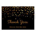 Gold Glitter Confetti Sparkles Black Thank You Card