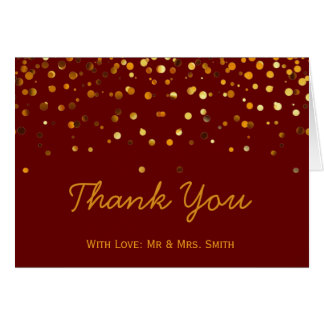 Gold Glitter Confetti Sparkles Brown Thank You Card
