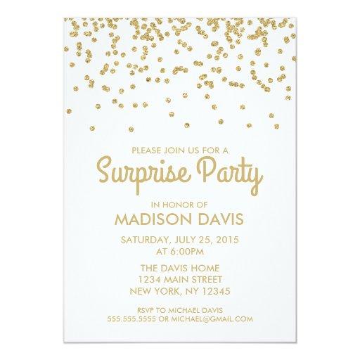 Gold Glitter Confetti Surprise Birthday Party 5x7 Paper Invitation Card   Zazzle