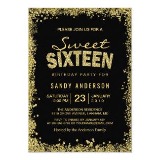 Gold Glitter Confetti | Sweet 16 Sixteen Birthday Card