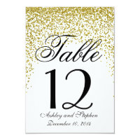 Gold Glitter Confetti Table Numbers