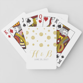 Gold Glitter Confetti Wedding Playing Cards