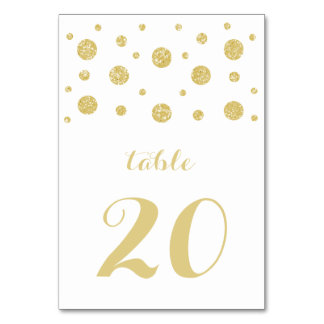 Gold Glitter Confetti Wedding Table Card