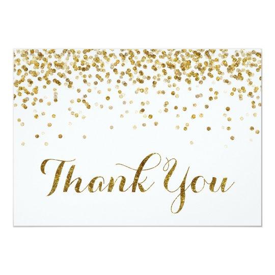 Gold Glitter Confetti Wedding Thank You Card