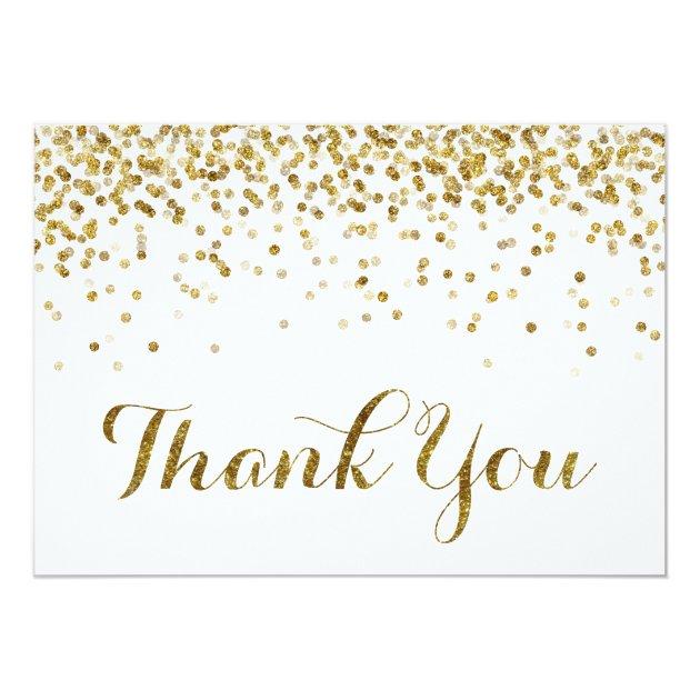 Gold Glitter Confetti Wedding Thank You Card | Zazzle