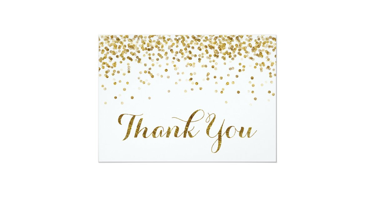 Gold Glitter Confetti Wedding Thank You Card Zazzle