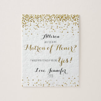Gold Glitter Confetti Will you be Matron of Honor Jigsaw Puzzle