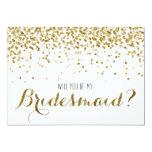 Gold Glitter Confetti Will you be my Bridesmaid 5x7 Paper Invitation Card