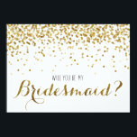 """Gold Glitter Confetti Will you be my Bridesmaid Card<br><div class=""""desc"""">For the bride to be who loves gold, glitter and bling! A truly fun way to ask your very favorite girls to be a part of your bridal party (and your big day!) Featuring faux (flat printed) gold glitter confetti. Reads &quot;Will you be my Bridesmaid?&quot; on the front with &quot;It...</div>"""