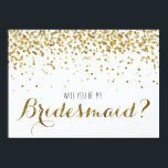 "Gold Glitter Confetti Will you be my Bridesmaid Invitation<br><div class=""desc"">For the bride to be who loves gold, glitter and bling! A truly fun way to ask your very favorite girls to be a part of your bridal party (and your big day!) Featuring faux (flat printed) gold glitter confetti. Reads &quot;Will you be my Bridesmaid?&quot; on the front with &quot;It...</div>"