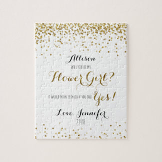 Gold Glitter Confetti Will you be my Flower Girl Jigsaw Puzzle