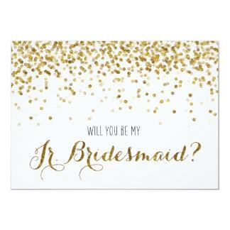 Gold Glitter Confetti Will you be my Jr Bridesmaid Invitation
