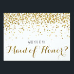 """Gold Glitter Confetti Will you be my Maid of Honor Card<br><div class=""""desc"""">For the bride to be who loves gold, glitter and bling! A truly fun way to ask your very favorite girls to be a part of your bridal party (and your big day!) Featuring faux (flat printed) gold glitter confetti. Reads &quot;Will you be my Maid of Honor?&quot; on the front...</div>"""
