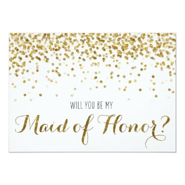 weddingsnwhimsy Gold Glitter Confetti Will you be my Maid of Honor Card