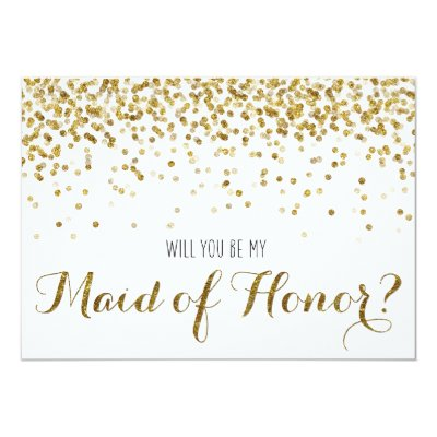 Gold glitter confetti will you be my bridesmaid card zazzle pronofoot35fo Image collections