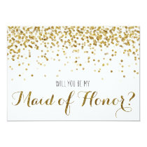 Gold Glitter Confetti Will you be my Maid of Honor Invitation