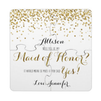 Gold Glitter Confetti Will you be my Maid of Honor Puzzle Coaster