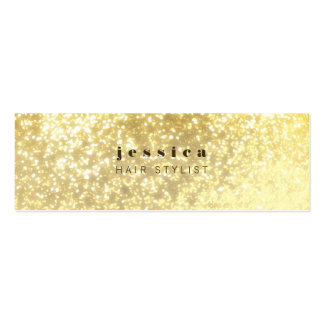 Gold Glitter Contemporary Hair Stylist Skinny Card Business Card Templates