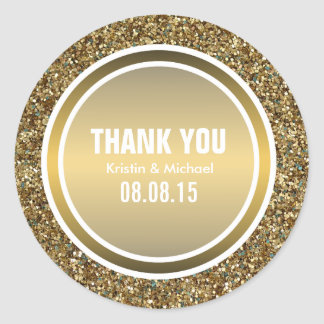 Gold Glitter & Copper Gold Thank You Label