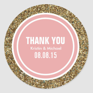 Gold Glitter Coral Pink Custom Thank You Label Classic Round Sticker