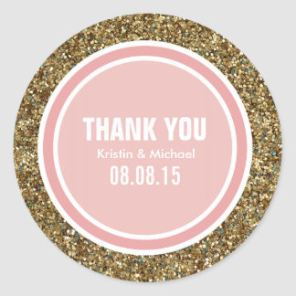 Gold Glitter & Coral Pink Thank You Label