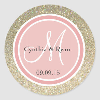 Gold Glitter & Coral Pink Wedding Monogram Classic Round Sticker