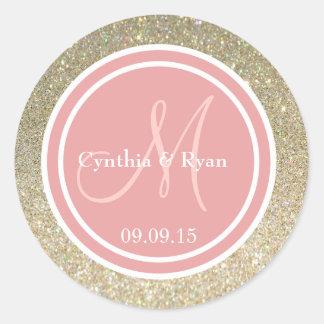 Gold Glitter & Coral Pink Wedding Monogram Sticker