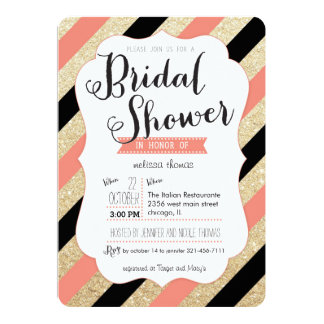 Gold Glitter & Coral Stripes Bridal Shower Invite