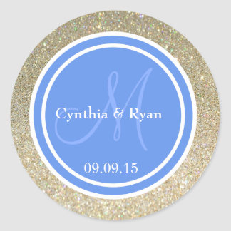 Gold Glitter & Cornflower Blue Wedding Monogram Classic Round Sticker