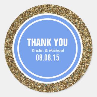 Gold Glitter Cornflower Custom Thank You Label Classic Round Sticker