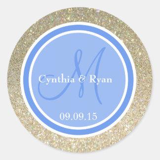 Gold Glitter & Cornflower Wedding Monogram Label Classic Round Sticker