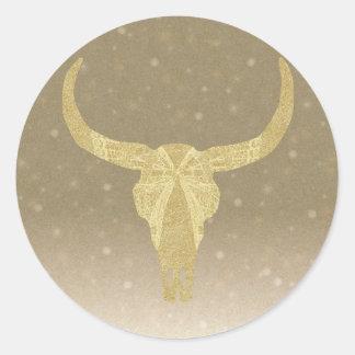 Gold Glitter Cow Skull Classic Round Sticker
