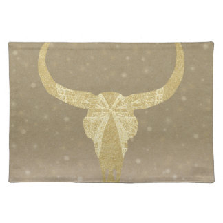 Gold Glitter Cow Skull Placemat
