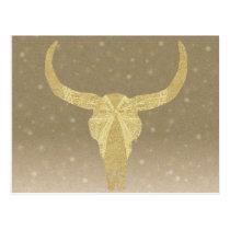 Gold Glitter Cow Skull Postcard