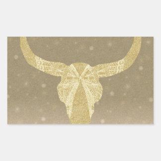 Gold Glitter Cow Skull Rectangular Sticker