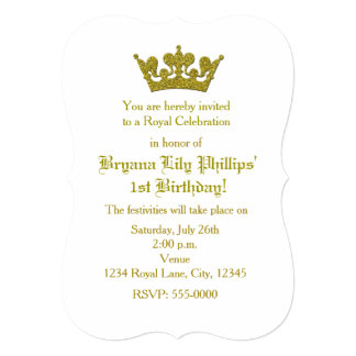 Gold Glitter Crown Princess Birthday Invitation