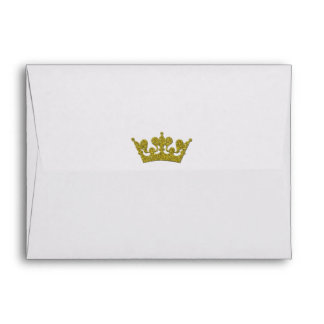 Gold Glitter Crown Royal Party Invitation Envelope