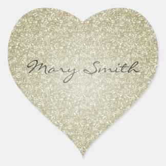 Gold Glitter Custom Name Heart Sticker