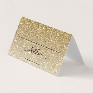 Gold Glitter Custom Place Card