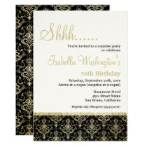 Gold Glitter Damask 70th Surprise Birthday Party Invitation