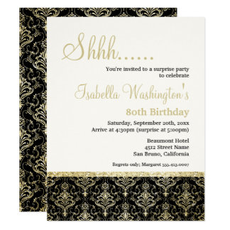 Gold Glitter Damask 80th Surprise Birthday Party Card