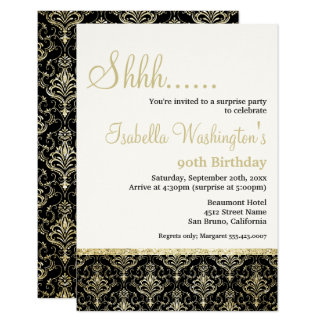 Gold Glitter Damask 90th Surprise Birthday Party Card