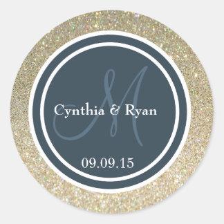 Gold Glitter Dark Blue Gray Wedding Monogram Round Stickers
