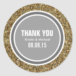 Gold Glitter & Dark Gray Thank You Label Classic Round Sticker