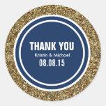Gold Glitter Dark Navy Blue Custom Thank You Label Classic Round Sticker