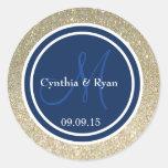 Gold Glitter & Dark Navy Blue Wedding Monogram Classic Round Sticker